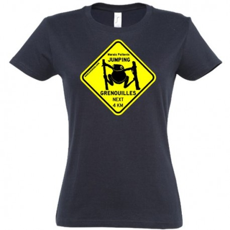 Tee-shirt Femme Jumping Grenouilles Noir