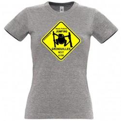 Tee-shirt Femme Jumping Grenouilles Gris