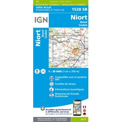 Carte IGN Top 25 Niort Benet Coulon