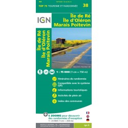Carte IGN Top 75 Ile de Ré Ile d'Oléron Marais Poitevin